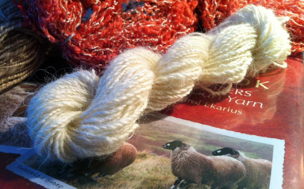Finnsheep yarn on a sheepy book.